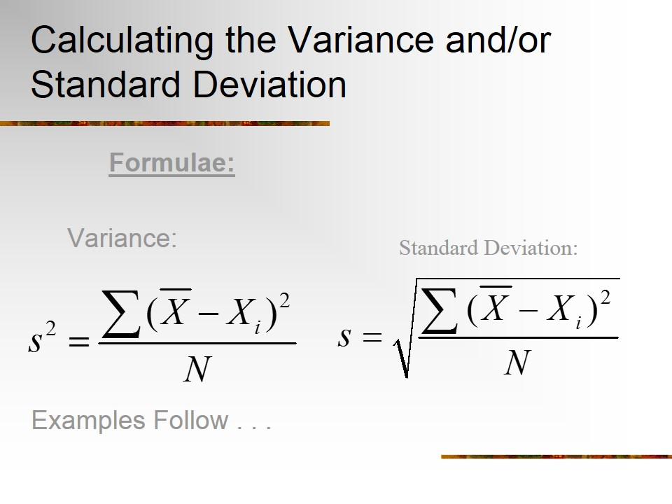 calculating variance and standard deviation